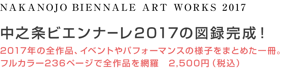 NAKANOJO BIENNALE ARTWORKS2017 中之条ビエンナーレ2017の図録完成! 2017年の全作品、イベントやパフォーマンスの様子をまとめた一冊。フルカラー236ページで全作品を網羅。2500円(税込)